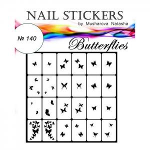 №140 Трафареты-наклейки для Nail Art, бабочки