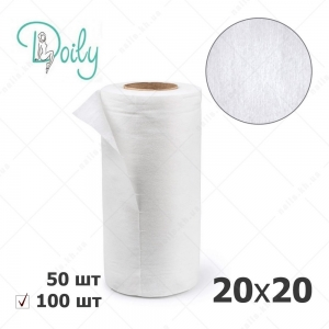 Doily салфетки 20*20 в рулоне, гладкие белые, 100 шт/уп