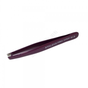 ТE-11/3 Сталекс Пинцет для бровей Expert 11 Type 3 (широкие скошенные кромки) фиолетовый