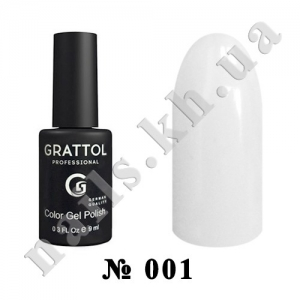 001 - Grattol Color Gel Polish  White, 9ml