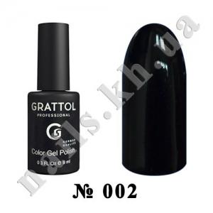 002 - Grattol Color Gel Polish  Black, 9ml