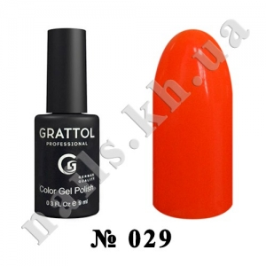 029 - Grattol Color Gel Polish  Orange Red, 9ml