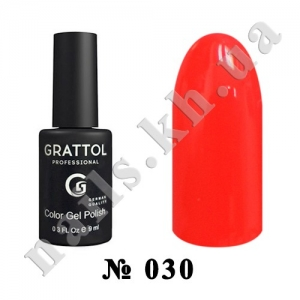 030 - Grattol Color Gel Polish  Bright Red, 9ml