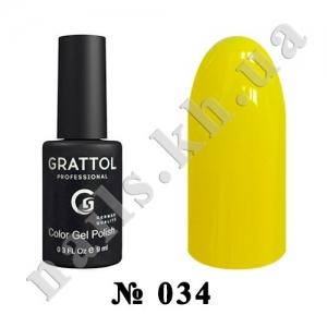 034 - Grattol Color Gel Polish  Yellow, 9ml