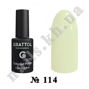 114 - Grattol Color Gel Polish  Pale Yellow, 9ml