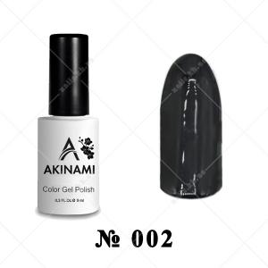 002 - Akinami Color Gel Polish - Black, 9ml