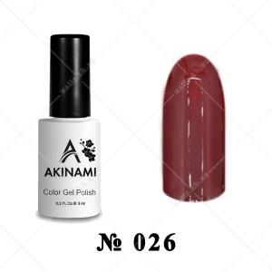 026 - Akinami Color Gel Polish - Red Brown, 9ml