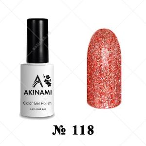 118 - Akinami Color Gel Polish - Red Sparkle, 9ml