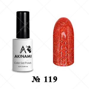 119 - Akinami Color Gel Polish - Orange Sparks, 9ml