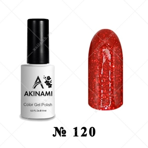 120 - Akinami Color Gel Polish - Glitter Red, 9ml