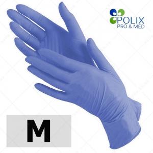 Polix PRO&MED перчатки нитриловые M, без пудры голубые, 100 шт/уп