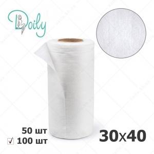 Doily салфетки 30*40 в рулоне, гладкие белые, 100 шт/уп