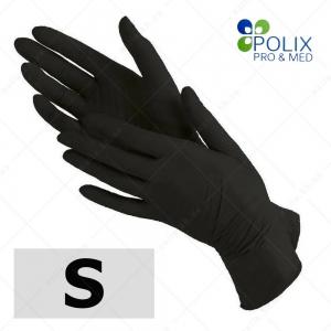 Polix PRO&MED перчатки нитриловые S, без пудры  ЧЕРНЫЕ, 100 шт/уп