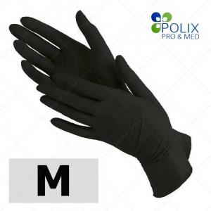 Polix PRO&MED перчатки нитриловые M, без пудры  ЧЕРНЫЕ, 100 шт/уп
