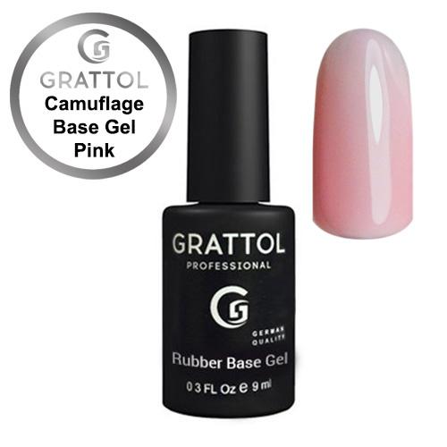 Grattol. Camuflage Base Gel Pink - Камуфлирующая база, 9ml