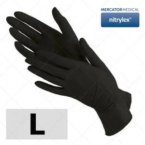 MERCATOR перчатки нитриловые L, без пудры  ЧЕРНЫЕ, 100 шт/уп