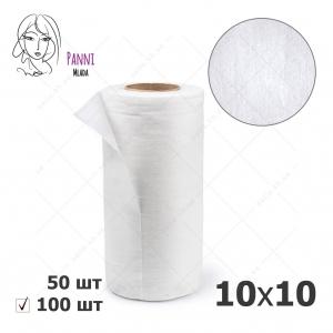 Panni Mlada салфетки 10*10 в рулоне, ГЛАДКИЕ белые, 100 шт/уп