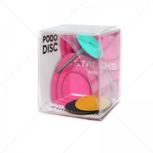 PPDset-20 Сталекс Педикюрный диск пластиковый PODODISK M +сменные файлы 180 грит 5 шт (20 мм)