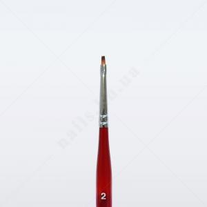 Кисть для геля синтетика под колонок DS23R № 2, прямая