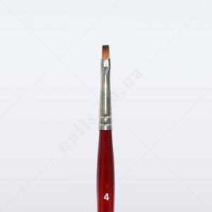 Кисть для геля синтетика под колонок DS23R № 4, прямая