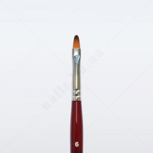 Кисть для геля синтетика под колонок DS33R № 6, овальная