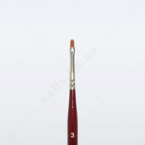 Кисть для геля синтетика коричневая GN23R № 3, плоская