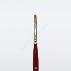 Кисть для геля синтетика коричневая GN23R № 4, плоская