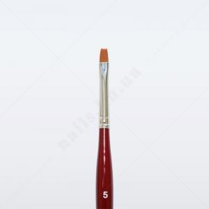 Кисть для геля синтетика коричневая GN23R № 5, плоская