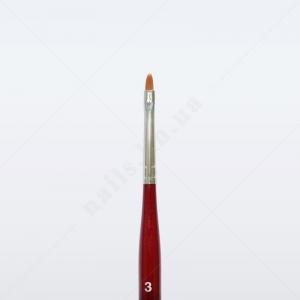 Кисть для геля синтетика коричневая GN33R № 3, овальная