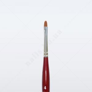 Кисть для геля синтетика коричневая GN33R № 4, овальная