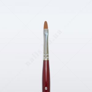 Кисть для геля синтетика коричневая GN33R № 6, овальная