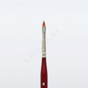 Кисть для геля синтетика коричневая GN93R № 4, лепесток