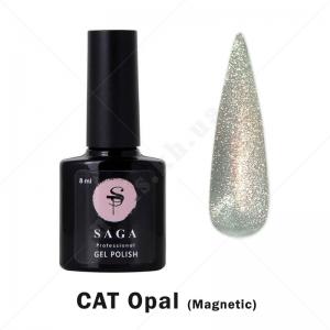 Saga Cat Opal Гель-лак кошачий глаз с хрустальным бликом - опал, 8мл
