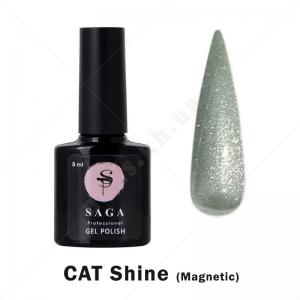 Saga Cat Shine Гель-лак кошачий глаз с хрустальным бликом - серебро, 8мл