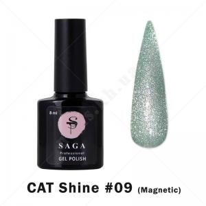 Saga Cat Shine №9 — Гель-лак кошачий глаз с хрустальным бликом, 8мл