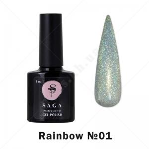 SAGA Rainbow №01 — Гель-лак голографический Prisma (Серебро), 8 мл