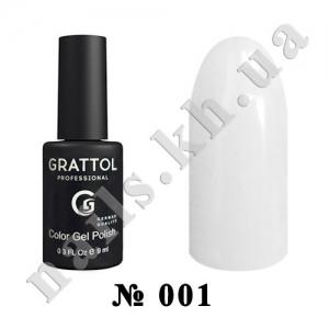 001 - Grattol Color Gel Polish  White, 9ml