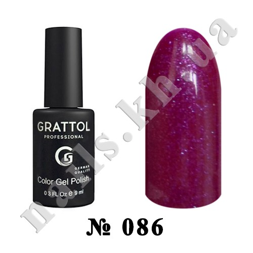 -086 - Grattol Color Gel Polish  Glossy Crimson, 9ml