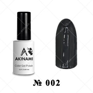 002 - Akinami Color Gel Polish - Black, 9ml